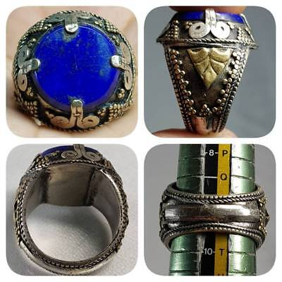Rare Unique Beautiful Lapis lazuli stone Silver Lovely Ring    # F