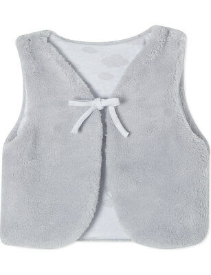 The Little White Company Grey Microfleece Faux Fur Gilet for Baby Girl 0-3 month