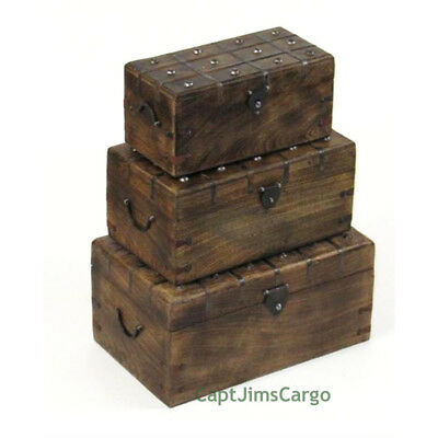 "Pirate Treasure Chest 17"" Nested Boxes Set of 3 Wooden Trunks Nautical Decor New"