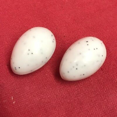 2 x Budgie Dummy Egg Breeding Replacement Plastic White Speckled Breeding Season