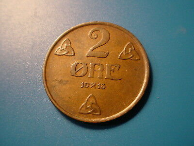 Norway 1913 2-Ore In Near Uncirculated Condition