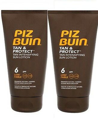 Piz Buin TAN INTENSIFIER LOTION  SPF 6 150ml (Pack of 2)  for Faster Tanning