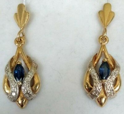 Pretty Hallmarked 9ct Gold Sapphire & Diamond Earrings