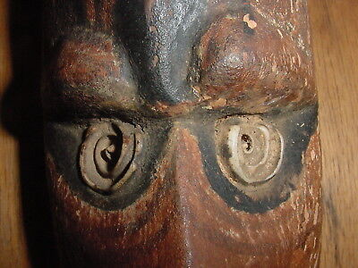 Vintage Yam God Mask With Shell Eyes From New Guinea Folk Art Tribal