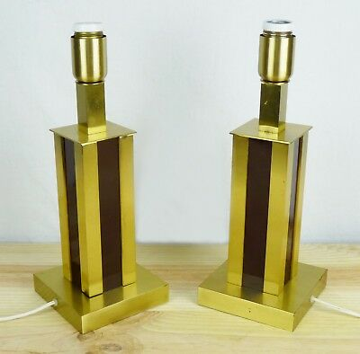 WILLY RIZZO PAIR Vintage Brass Table Light Lamp Mid Century Modern Maison Jansen