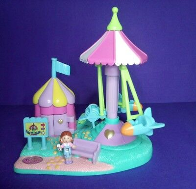 POLLY POCKET 1996 Vintage Carnival Rocket Ride Playground Playset with Rosie