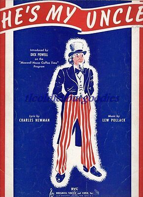 1940 He's My Uncle Pollack Dick Powell Rare Antique Original Sheet Music