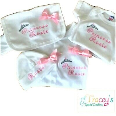 Personalised embroidered Baby Bib and hat Set beautiful Gift