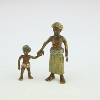 Cold Painted Austrian Bronze Arabian Man and Boy Egyptian Vienna RARE Antique