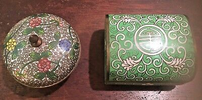 Lot 2 Vintage Chinese export enamel cloisonné box Green lucky/intricate blossoms