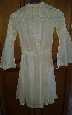 Antique Vintage Young Girl Childs White sheer Cotton Victorian Dress