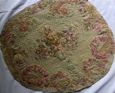 French Antique Needlepoint Elegant Floral Design Roses & Bows Oval Tapestry