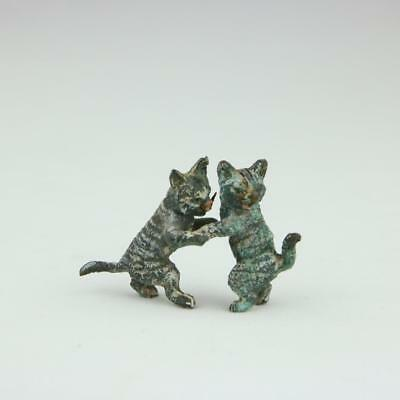 Antique Austrian Bronze Cold Painted Vienna Kittens Dancing Group Rare Cats Rare