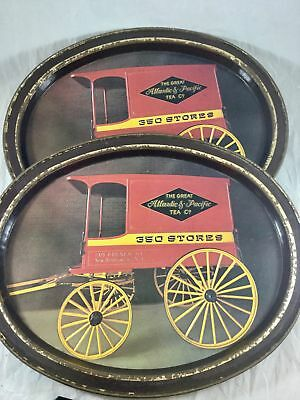 2 Vintage A&P Atlantic Pacific Tea Co Oval Metal Serving Trays New Brunswick NJ