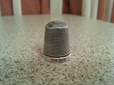 VINTAGE HALLMARKED SOLID SILVER THIMBLE 'THE SPA' c1928 - HG&S maker, Birmingham