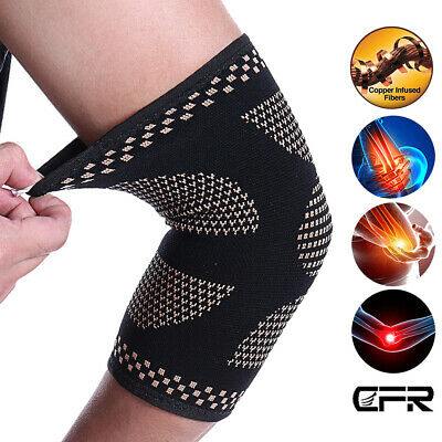 Magnetic Elbow Support Brace Arthritis Copper Infused Tennis Arm Sleeve Strap HT