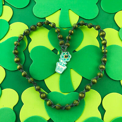 HOTI Hemp Handmade Green Twisted Necklace Men's Wood Bead Spiral Knotted Beaded