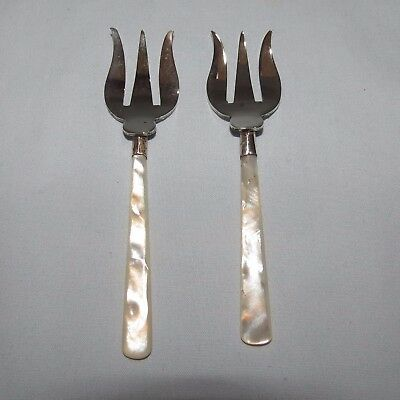 Beautiful Pair Epns Solid Mother Of Pearl Handles Oyster Forks Savoury