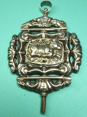 Antique 19Thc Large Sized Silver Watch Key Fob Pendant Hinged Cow Dutch