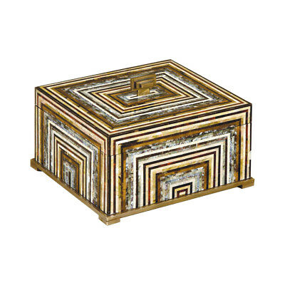 Maitland-Smith 8106-11  Shell Inlaid Wooden Box w/ Antique Brass Accents New!