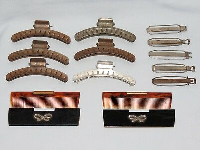 VINTAGE HAIR DRESSING LOT FINGER WAVE CLIPS 2 DIAMONTE CASED COMBS and more