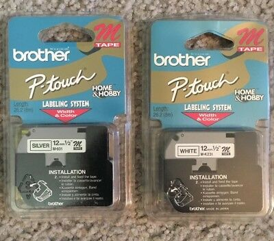 Brother P Touch Labeling System White Tape Refill M-K231 new two pack