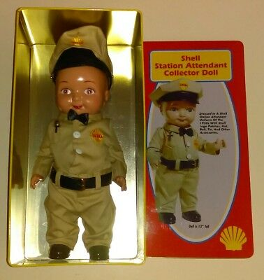 SHELL Gas Station Collector Attendant Doll w/ tin RARE Buddy Lee oil can Texaco