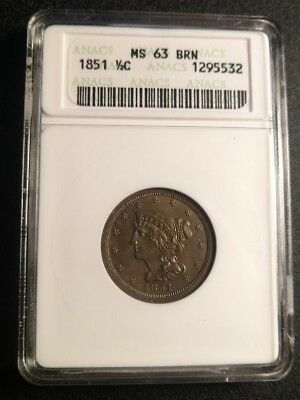 1851 Braided Hair Half Cent Old White ANACS MS63