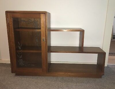1930s Vintage Low Stepped Bookcase with Glass Door and Key