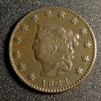 1822 Coronet Head Large Cent VF Better Date