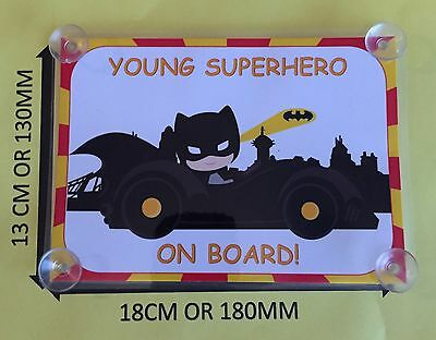 Child Dressed As Batman In Car Young Superhero On Board Car Laminated Sign