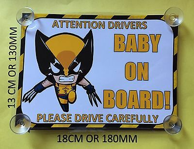 Superheroes Wolverine  Baby On Board Car Laminated Sign