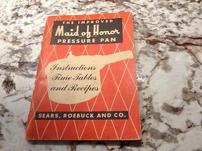 Vintage Maid of Honor Pressure Pan Instruction Time Tables & Recipe Book