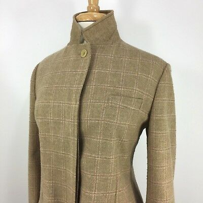 Faconnable Made in Italy Timeless Blazer Jacket Beige & Pink Plaid Medium