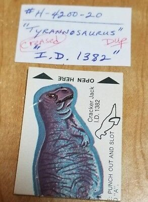 Vintage Cracker Jack Animal Punch Out Tyrannosaurus Toy Prize