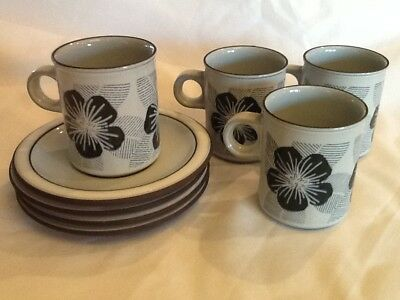 Vintage/Retro Hornsea Pottery Harmony Design 4 x Coffee Cups and Saucers