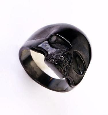 fashion black skull half head  design 316l stainless steel motor ring size 11