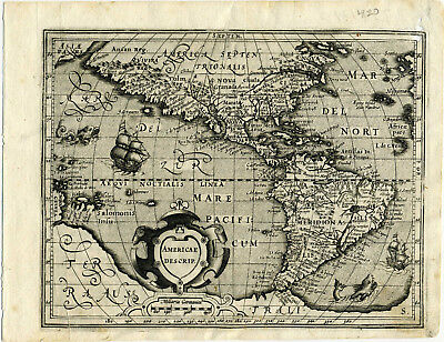 1607 Genuine Antique map N & S America. Huge S Continent. by Mercator/Hondius