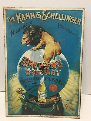 Kamm & Schellinger Brewing Company Metal Advertising Sign Beer