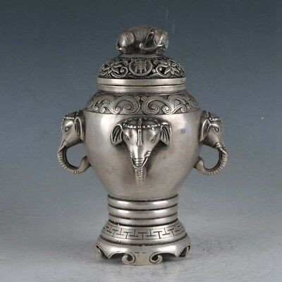 Chinese  Silvering Copper Elephant Incense Burner Made By The Royal
