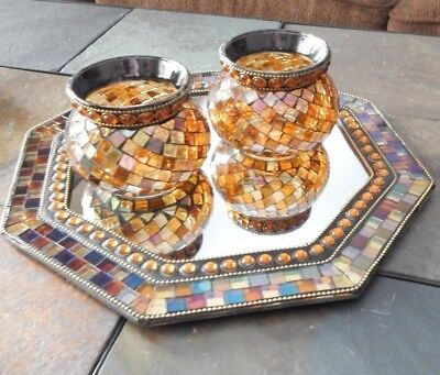 PartyLite Global Fusion Mosaic Candle Holders & Wall Mirror 3 Piece Set Retired