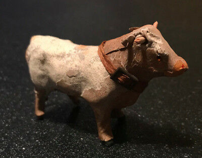 Mini Child Leather Cow Glass Eyes Pull toy no Base or Platform Putz Germany