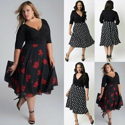 AU Plus Size Womens Long Prom V Neck Cocktail Ladies Party Swing Dress Fashion