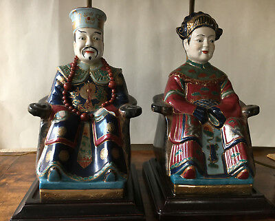 Pair Of Polychrome Porcelain Chinese Seated  Male & Female  Lamps