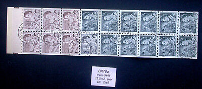 Cancelled Pane 544b from Centennial Booklet BK70a ~ 454 460 544 Stamps