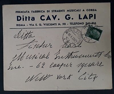 1939 Italy Cover ties 25c green Victor Emmanuel stamp canc Rome to New York USA