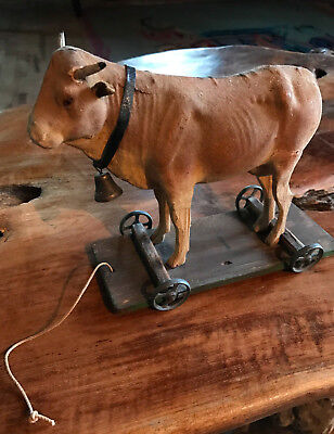 Paper Mache Putz Cow Pull Toy Leather Collar & Working Bell on Base & Wheels