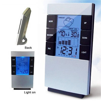 Digital LCD Indoor Thermometer Alarm Clock Time Temperature Humidity Weather AU