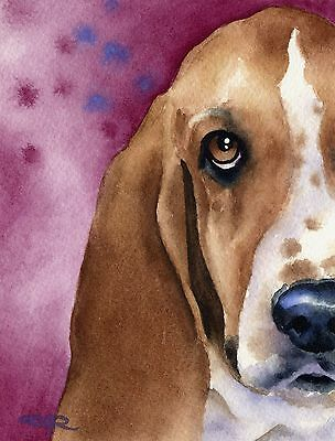 BASSET HOUND Watercolor DOG 8 x 10 ART Print Signed by Artist DJ Rogers