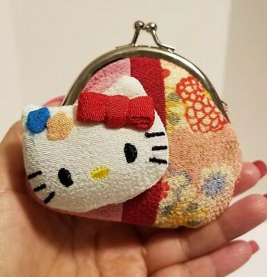 Hello Kitty Coin Purse Crepe Fabric Kimono Japan Style Red Bow Pouch Valentine